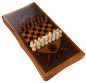 Mobile Preview: 3in1 Brettspiel Backgammon (Tavla) - NARDY- Dame - Schach (47 x 47cm)
